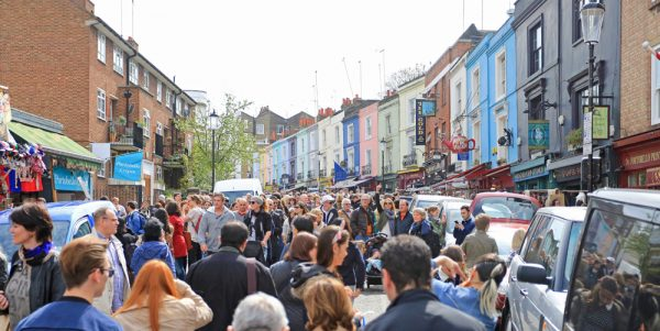 Portobello Market visitors on a Saturday